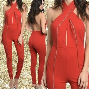  Red Glam Bodycon Halter Jumpsuit S M L